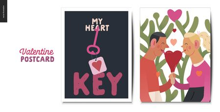 Valentines postcards -Valentines day graphics. Modern flat vector concept illustration - greeting cards - heart key and a young couple in love licking heart shaped ice cream