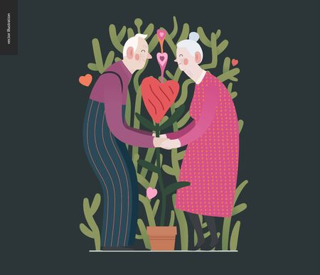 Elderly couple in love - Valentines day graphics. Modern flat vector concept illustration -an old hetoresexual couple holding their hands, a heart shaped plant between. Cute characters in love concept Ilustracja