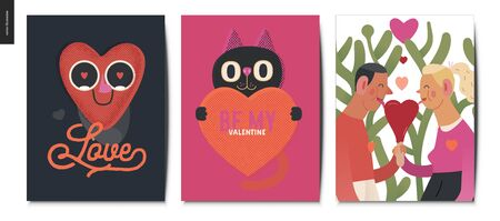 Valentines postcards -Valentines day graphics. Modern flat vector concept illustration - greeting cards -a young couple holding their hands licking a heart shaped ice cream, a happy heart in love, cat