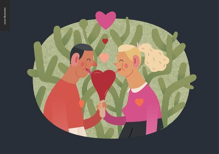 Couple in love vignette - Valentines day graphics. Modern flat vector concept illustration - a young hetoresexual couple licking a heart shaped ice cream, a plant behind. Cute characters in love concept