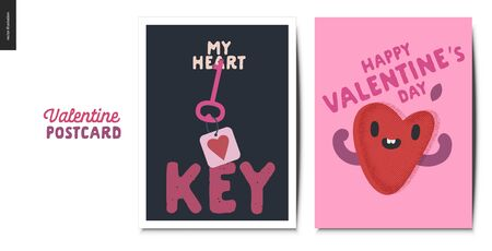 Valentines postcards -Valentines day graphics. Modern flat vector concept illustration - greeting cards - heart key and happy heart in love Çizim