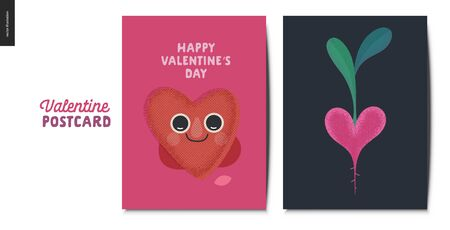 Valentines postcards -Valentines day graphics. Modern flat vector concept illustration - greeting cards - smiling heart and heart shaped vegetable Çizim