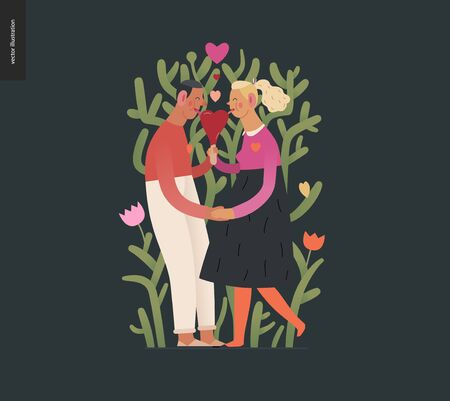 Couple in love - Valentines day graphics. Modern flat vector concept illustration - a young hetoresexual couple licking a heart shaped ice cream, a plant behind. Cute characters in love concept Illusztráció