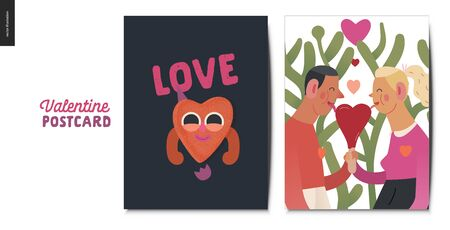 Valentines postcards -Valentines day graphics. Modern flat vector concept illustration - greeting cards - a young couple holding their hands licking a heart shaped ice cream, a happy heart in love