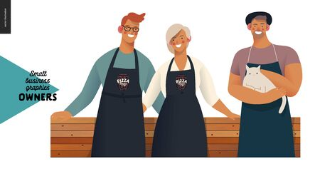 Owners -small business owners graphics. Modern flat vector concept illustrations - young man and woman standing embraced wearing black aprons, young man with a cat, standing at the wooden counter Foto de archivo - 140263379