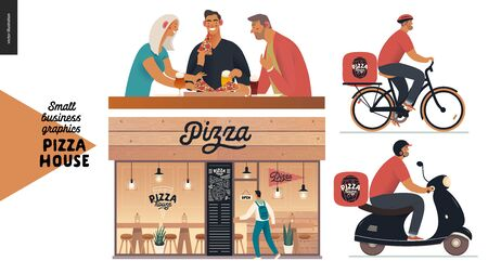 Pizza house - small business graphics - restaurant facade, visitors, delivery. Modern flat vector concept illustrations - shop front, windows and entrance. Visitors. Pizza guy on bicycle, scooter