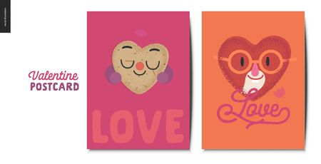 Valentines postcards -Valentines day graphics. Modern flat vector concept illustration - greeting cards - happy hearts in love - potato and aged bearded man