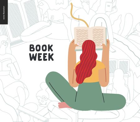 World Book Day graphics - book week events. Modern flat vector concept illustrations of reading people - a young red-haired woman reading a book sitting in the lotus Stok Fotoğraf - 138476714