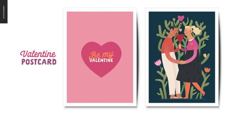 Valentines postcards -Valentines day graphics. Modern flat vector concept illustration - greeting cards - a heart with lettering, a young couple holding their hands licking a heart shaped ice cream Ilustracja