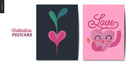Valentines postcards -Valentines day graphics. Modern flat vector concept illustration - greeting cards - smiling heart, lettering and heart shaped ,beet