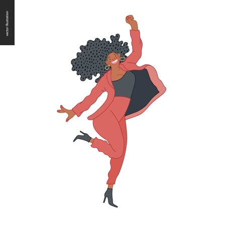 Happy business employee woman jumping in the air cheerfully. Modern flat vector concept illustration of a happy jumping office worker. Feeling and emotion concept. Illustration