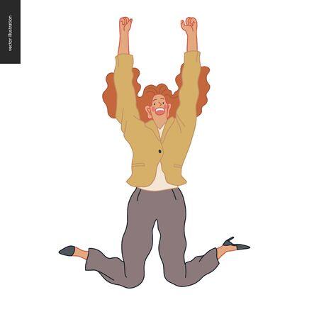 Mujer de empleado de negocios feliz saltando alegremente en el aire. Ilustración de concepto de vector plano moderno de un oficinista de salto feliz. Concepto de sentimiento y emoción. Ilustración de vector