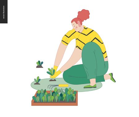 Gardening people, spring - modern flat vector concept illustration of a red-hired woman sitting on the ground in the squatting position planting sprouts. Spring gardening concept Illustration