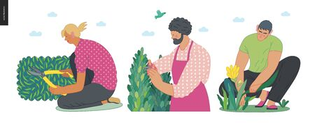 Gardening people set, spring -modern flat vector concept illustration of diverse people -men and women, doing hobby garden work -watering, planting, cutting, hoeing, arranging Spring gardening concept Illustration