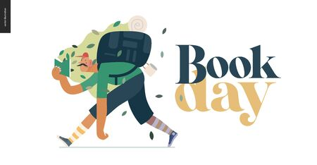 Wood design template -world Book Day graphics -book week events. Modern flat vector concept illustrations of reading people -man with mustache, cap, snickers and backpack in the forest reading a book