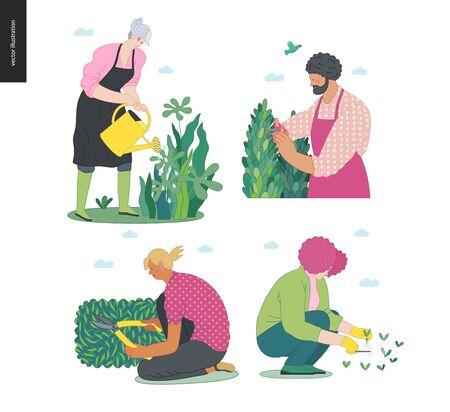 Gardening people set, spring -modern flat vector concept illustration of diverse people -men and women, doing hobby garden work -watering, planting, cutting, hoeing, arranging Spring gardening concept Illustration