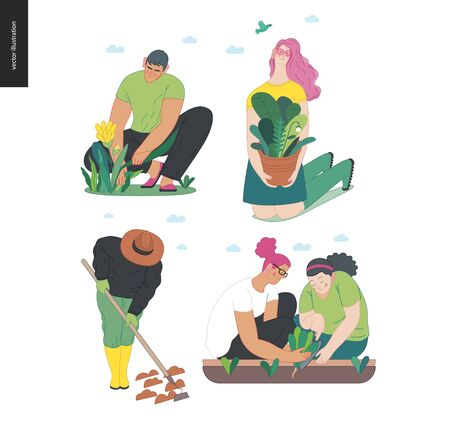 Gardening people set, spring -modern flat vector concept illustration of diverse people -men and women, doing hobby garden work -watering, planting, cutting, hoeing, arranging Spring gardening concept Vektorgrafik