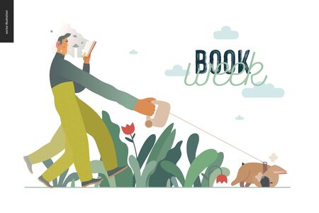 World Book Day graphics, dog walk template, book week events. Modern flat vector concept illustrations of reading people -a young man reading a book with enthusiasm, walking a bulldog pulling a leash