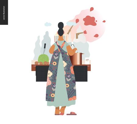 World Book Day graphics, woman cooking template, book week events. Modern flat vector concept illustrations of reading people -a woman reading a detective story, boiling a soup standing back