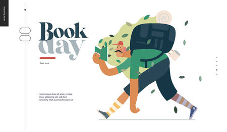Wood webdesign template -world Book Day graphics -book week events. Modern flat vector concept illustrations of reading people -man with mustache, cap, snickers, backpack in the forest reading a book