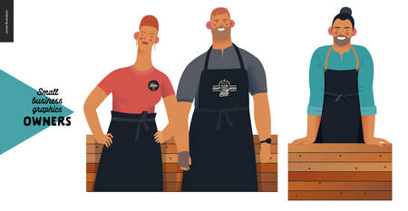 Owners -small business owners graphics. Modern flat vector concept illustrations - young woman and man wearing black aprons, young long-haired man, standing at the wooden counter Stock Illustratie