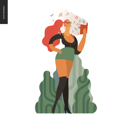 World Book Day graphics, vulgar dressed woman, book week events. Modern flat vector concept illustrations of reading people - a vulgar dressed woman in street reading a finance book with enthusiasm
