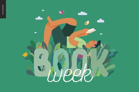 World Book Day graphics, grass -book week events. Modern flat vector concept illustrations of reading people -a brunette man laying down in the grass, reading a book Иллюстрация
