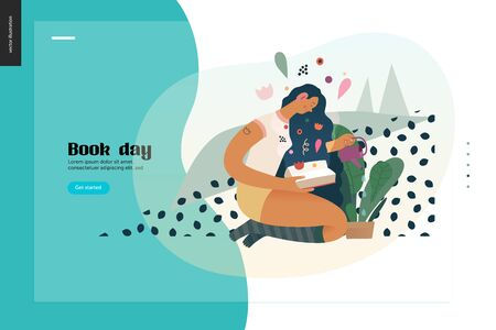 Watering webdesign template -World Book Day graphics -book week events. Modern flat vector concept illustrations of reading people -a brunette girl with watering a plant in the pot, reading a book