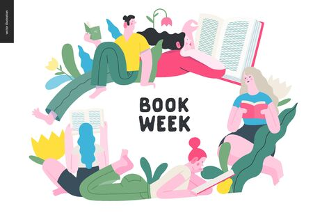 World Book Day graphics -book week events. Modern flat vector concept illustrations of reading people -young men and women reading book sitting and laying down surrounded by plants and blossom flowers
