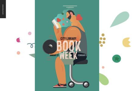 Weight lifting poster design template -World Book Day graphics -book week events. Modern flat vector concept illustrations of reading people -a brunette man lifting a dumbbell, reading a romance novel