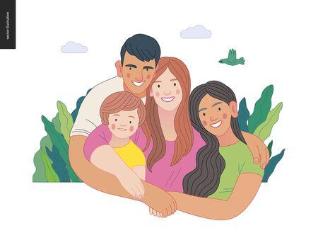 Happy international family with kids Illustration