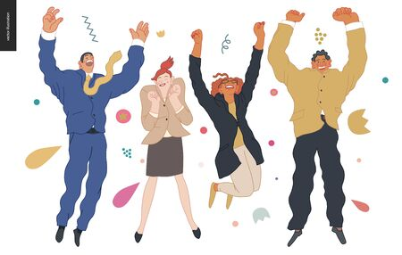 Happy business employees - group of men and women jumping in the air cheerfully. Vector Illustratie