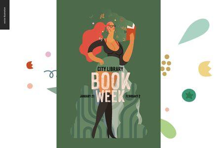 World Book Day graphics, vulgar dressed woman poster