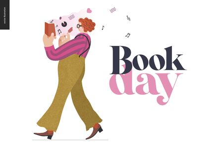 World Book Day graphics template -book week events. Modern flat vector concept illustrations of reading people -a red-haired man wearing vinatge outlook walking, eating ice cream, reading a music book
