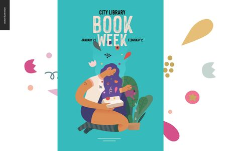 Watering poster design template -World Book Day graphics -book week events. Modern flat vector concept illustrations of reading people -a brunette girl with watering a plant in the pot, reading a book