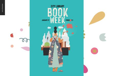 World Book Day graphics, woman cooking poster template, book week events. Modern flat vector concept illustrations of reading people -a woman reading a detective story, boiling a soup standing back