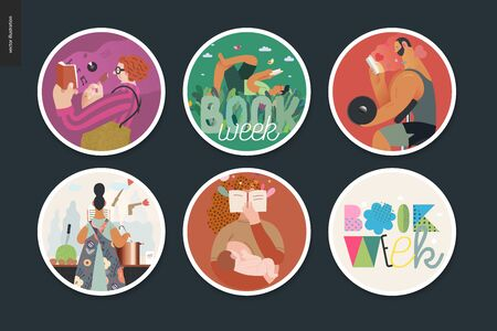 World Book Day stickers -book week events. Modern flat vector concept illustrations of people reading with enthusiasm forgetting about evrything surrounding. Lettering captions