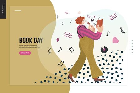 World Book Day web design template graphics -book week events. Modern flat vector concept illustrations of reading people -a red-haired man wearing vinatge, walking, eating ice cream, reading book
