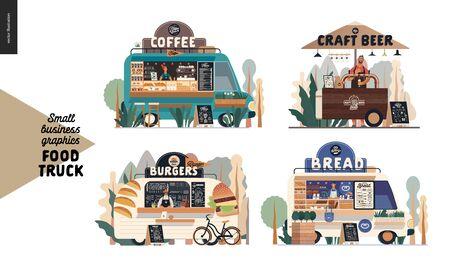 Food trucks -small business graphics. Modern flat vector concept illustrations -set of vans vending outdoor. Coffee shop, craft beer cart with umbrella, burgers, bread of bakery Ilustração
