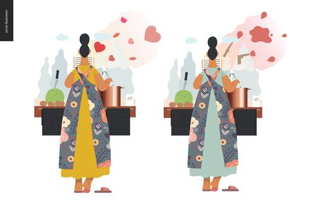 World Book Day graphics, woman cooking template, book week events. Modern flat vector concept illustrations of reading people -a woman reading a book with enthusiasm, boiling a soup standing back