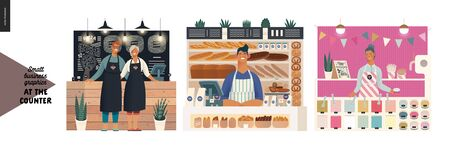 Counters -small business graphics. Modern flat vector concept illustrations -set of counters - pizza house, bakery, froxen yoghurt bar. Owners or vendors wearing apron at the counter Ilustração