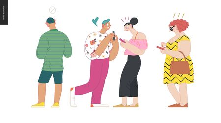 Waiting in line - modern flat vector concept illustration of a young men a women standing in line with smartphones, talking to each other. Multicultural, multilingual people, diversity concept