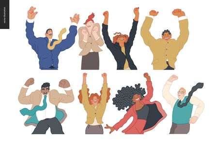 Happy business employees - group of men and women jumping in the air cheerfully. Modern flat vector concept illustration of a happy jumping office workers. Feeling and emotion concept. Vettoriali