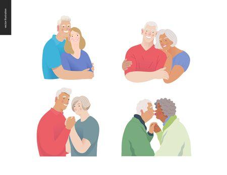 Medical insurance -senior citizen health plan -modern flat vector concept digital illustration of a happy elderly couple, standing embraced together holding their hands. Medical insurance plan. 向量圖像