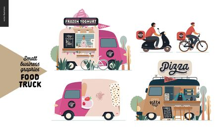 Food trucks -small business graphics. Modern flat vector concept illustrations -set of vans vending outdoor. Frozen yoghurt and pizza - food truck and delivery man on bicycle and scooter Vettoriali