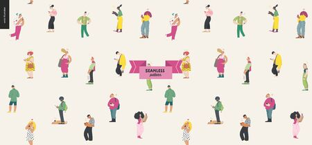 Waiting in line, seamless pattern - modern flat vector concept illustration of a young men a women standing in line with smartphones. Multicultural, multilingual people, diversity concept Ilustração
