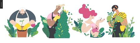 Gardening people, spring - modern flat vector concept illustration of people in the garden wearing aprons and gloves, gardening, watering, planting, cutting branches. Spring gardening concept