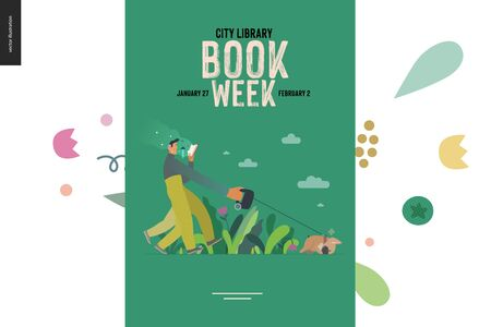 World Book Day graphics, dog walk poster template, book week events. Modern flat vector concept illustrations of reading people -a man reading a book with enthusiasm, walking a bulldog pulling a leash