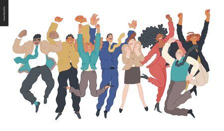 Employés d'entreprise heureux - groupe d'hommes et de femmes sautant en l'air gaiement. Illustration de concept de vecteur plat moderne d'un heureux employé de bureau sautant. Concept de sentiment et d'émotion.