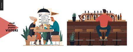 Visitors -small business graphics. Modern flat vector concept illustrations -set of illustrations showing customers eating inside of cafe, restaurant, bar or pub. Bar counter Ilustração